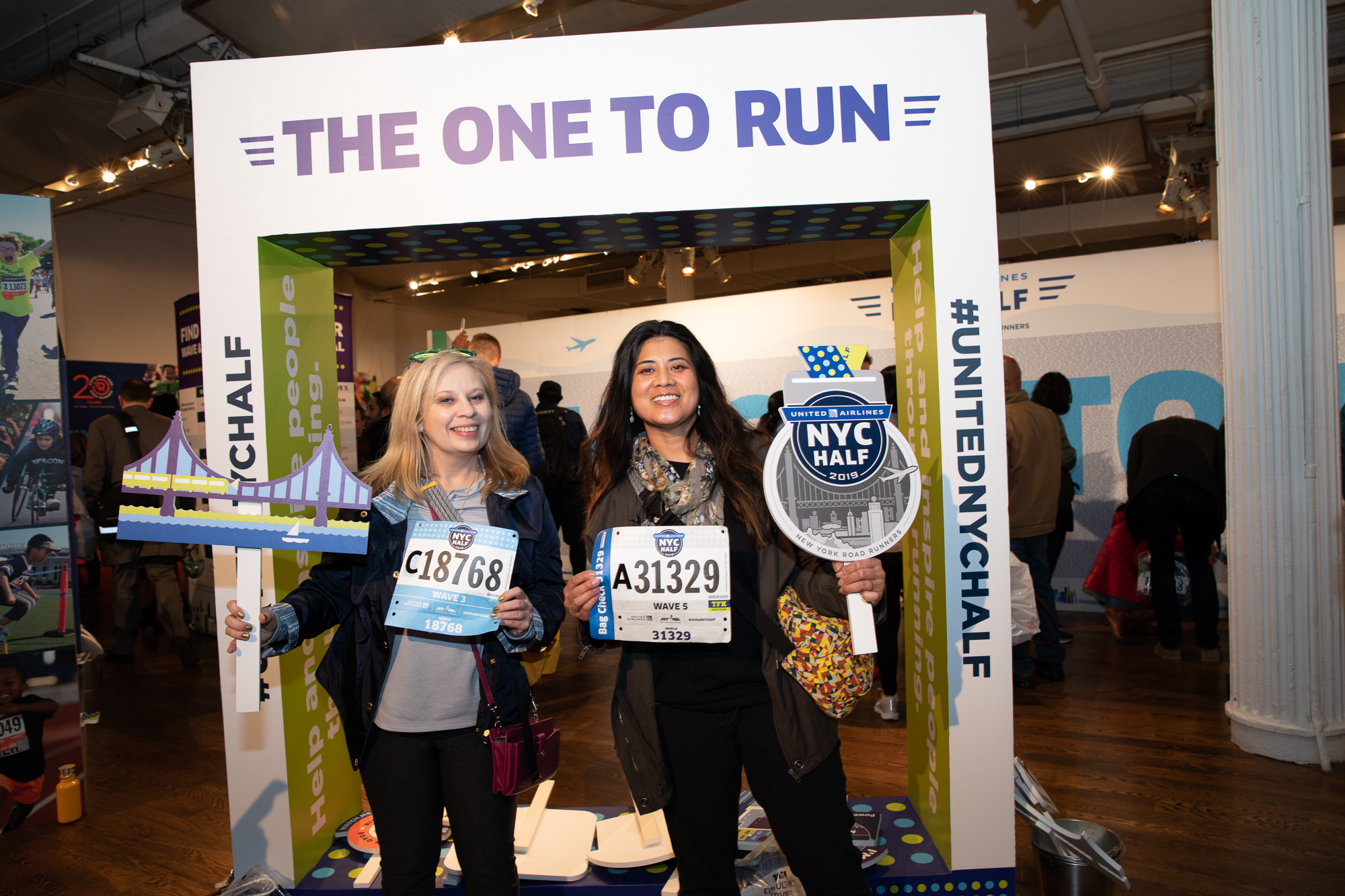 Two women at the United Airlines NYC Half expo