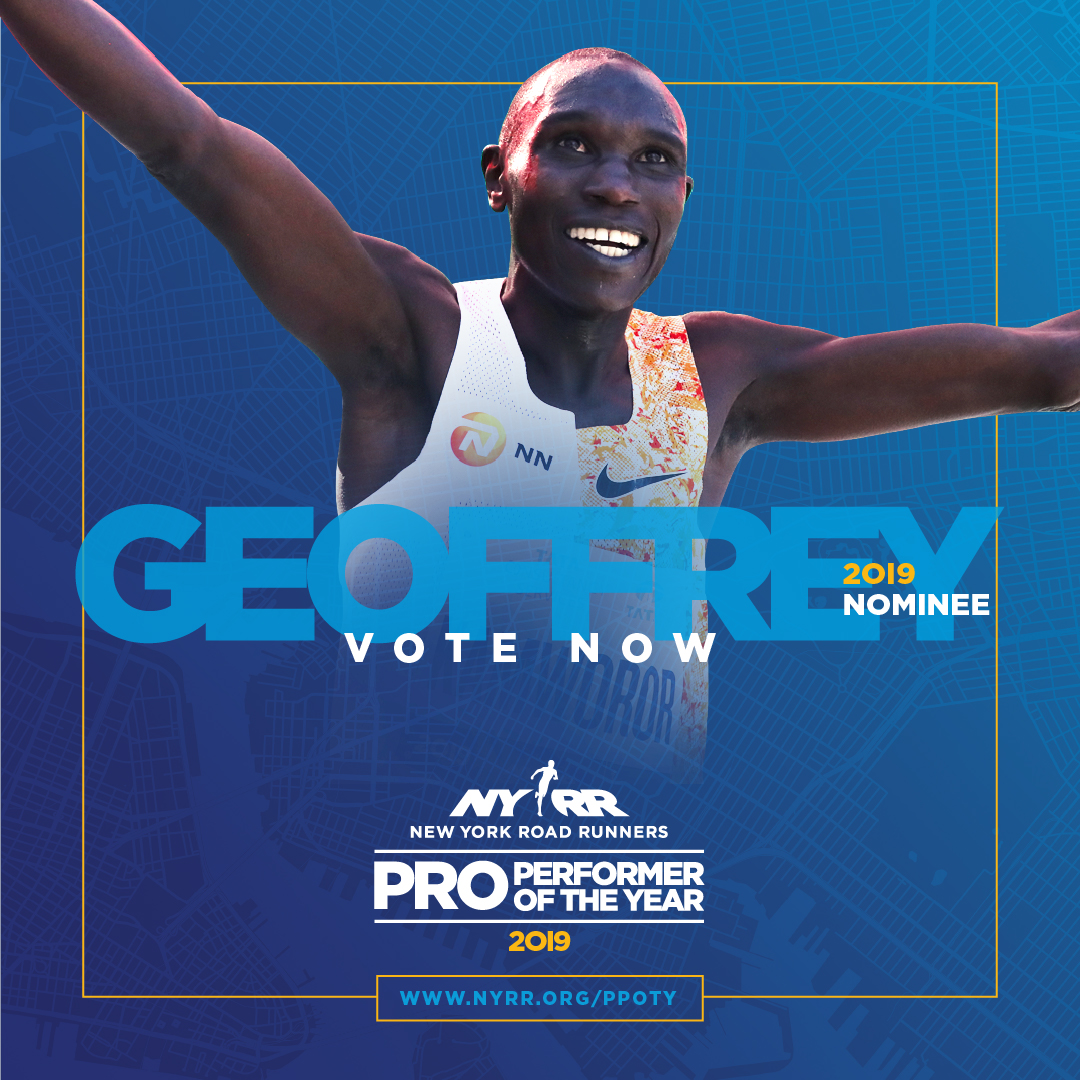 2019 NYRR Pro Performer of the Year graphic for Geoffrey Kamworor