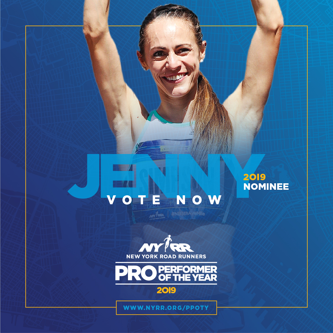 2019 NYRR Pro Performer of the Year graphic for Jenny Simpson
