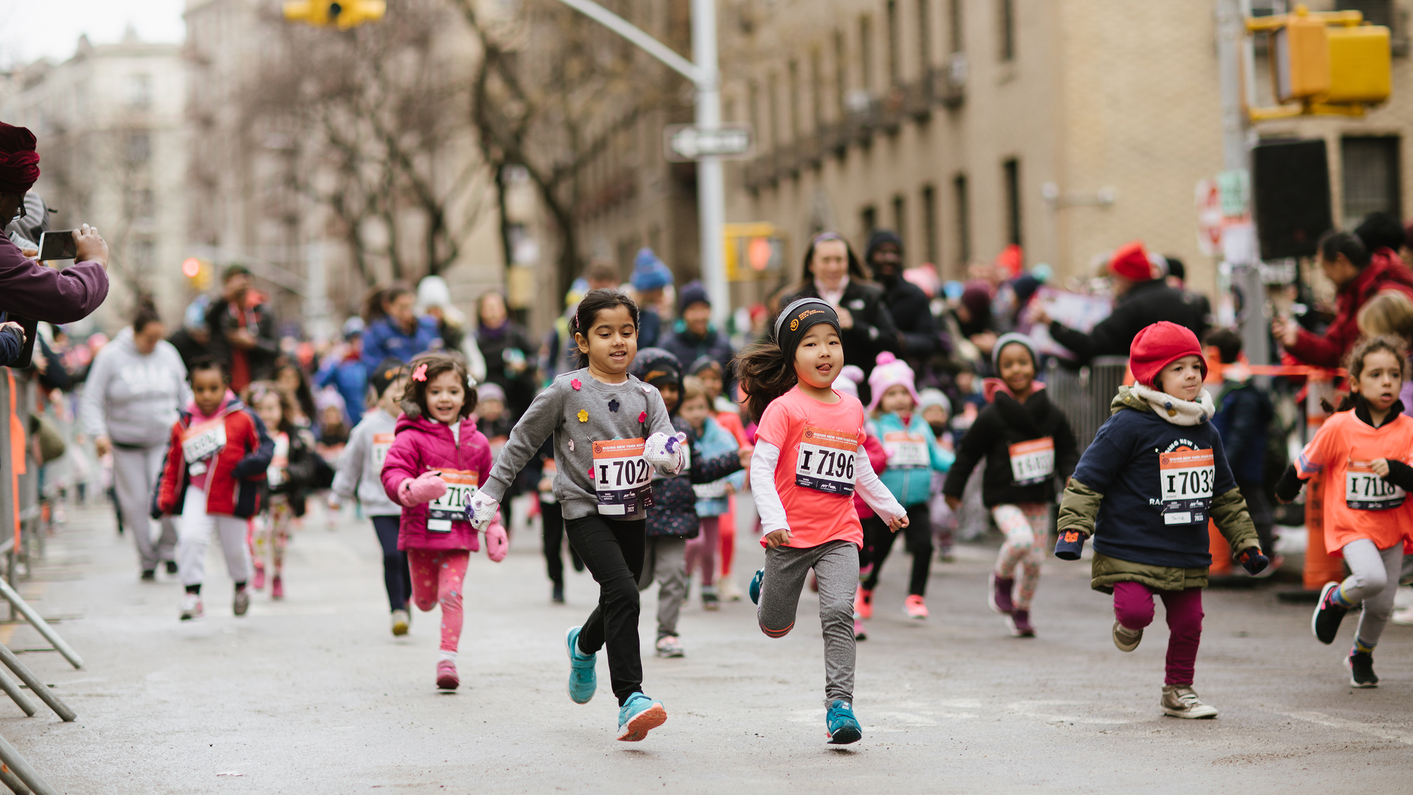 Children racing down the street