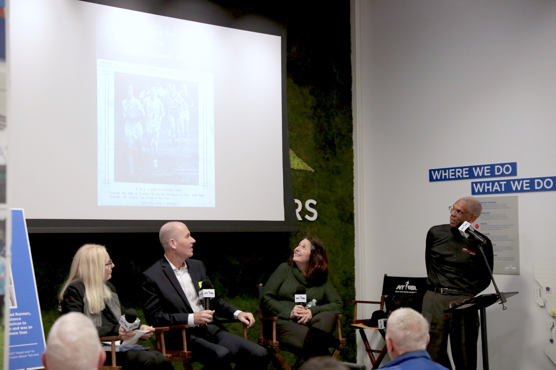 A panel discussion at the NYRR RUNCENTER, with Bonnie Ross, Ed Burns, Maeve Vinci, and Gary Corbitt