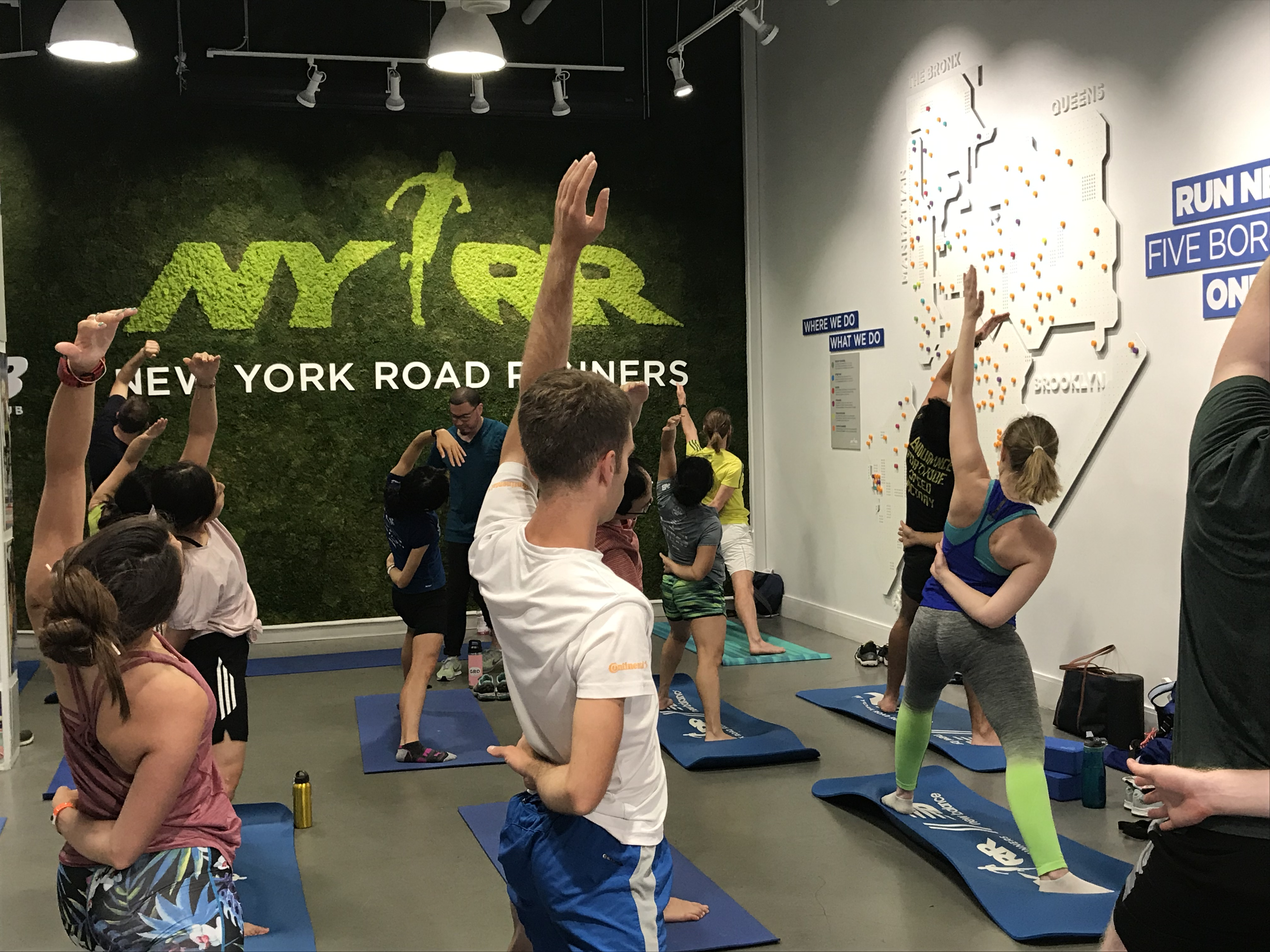 A yoga class at the NYRR Run center