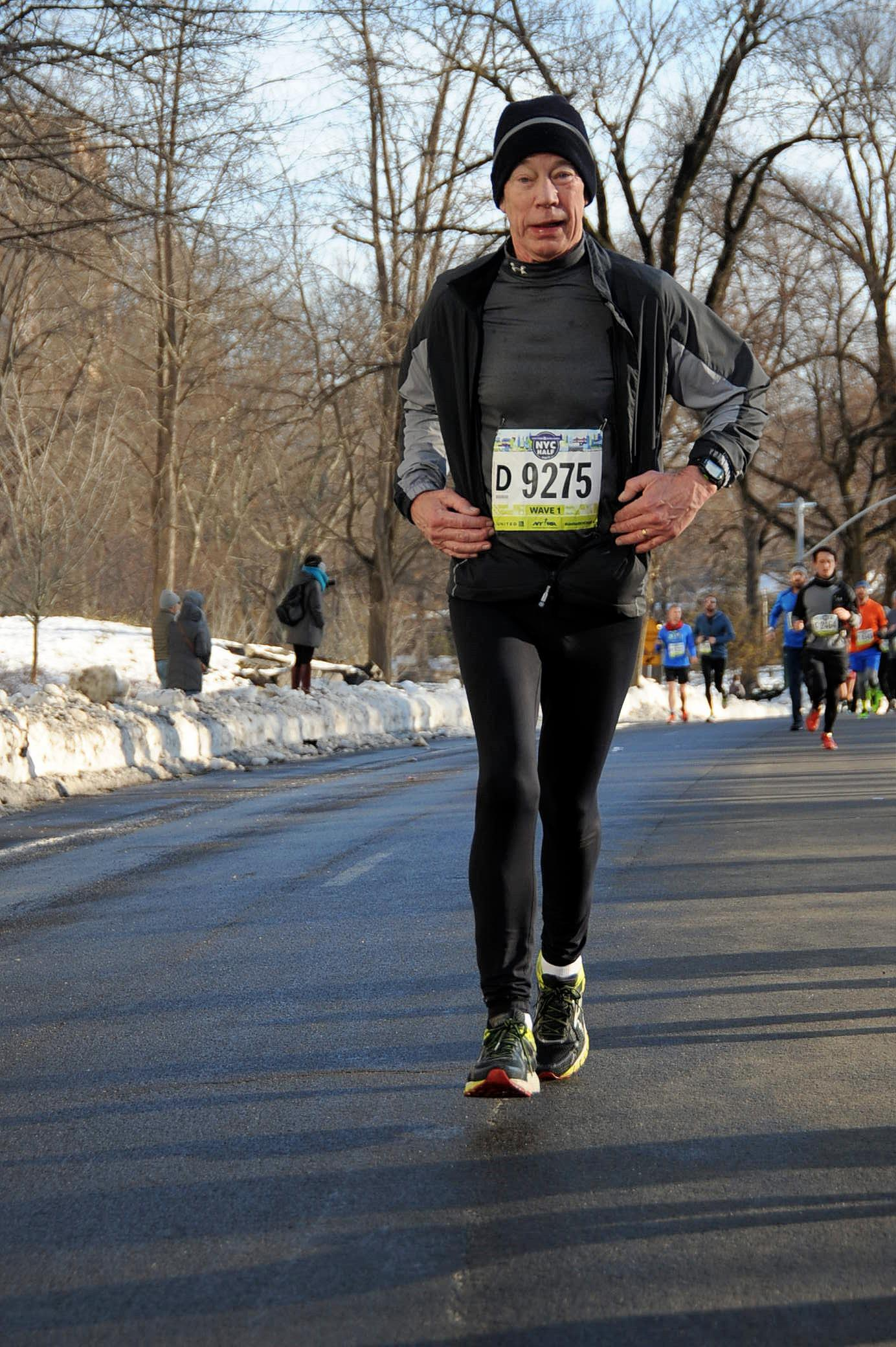 A runner in Central Park at the United Airlines NYC Half
