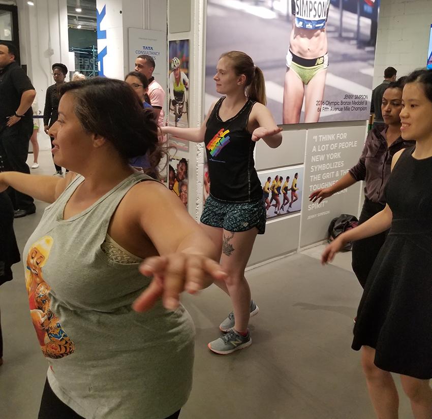 A salsa class in progress at the NYRR Run Center
