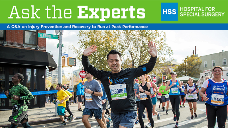 HSS Ask the Experts banner with a man running the marathon underneath
