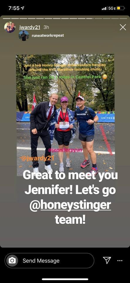 Screengrab of Jared Ward's Instagram story featuring Jennifer Pyun