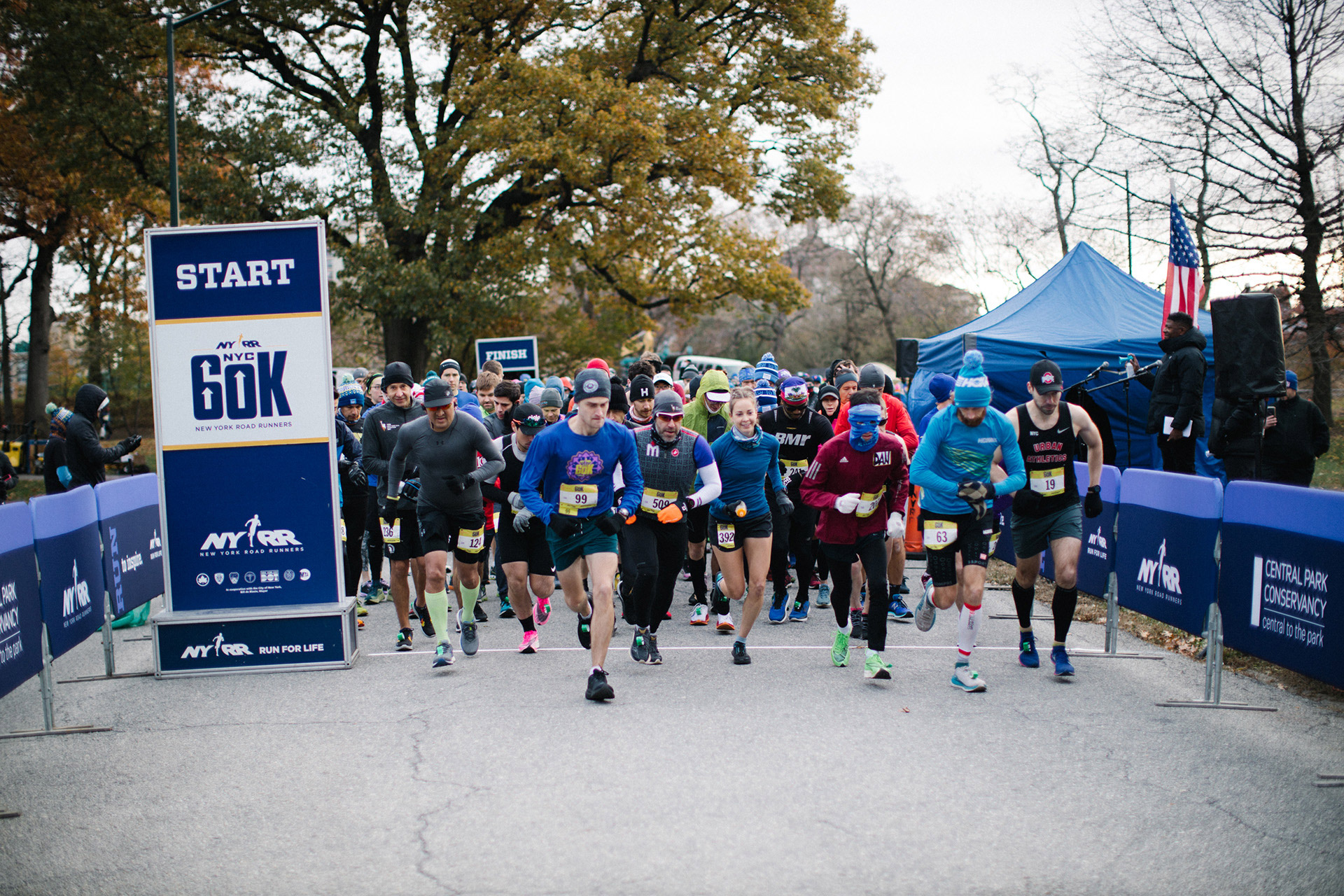 Runners at the start of the NYRR NYC 60K Sunday