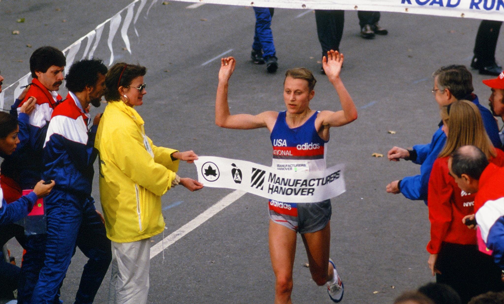 Grete Waitz winning the 1986 New York City Marathon