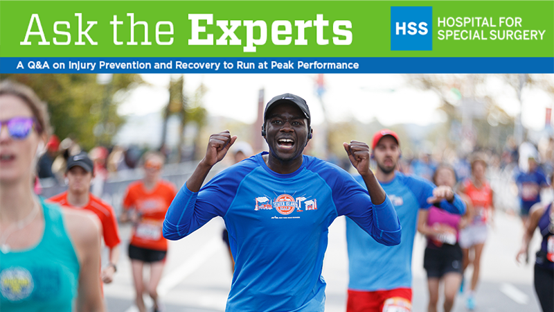 HSS Ask the experts banner with a runner raising his arms