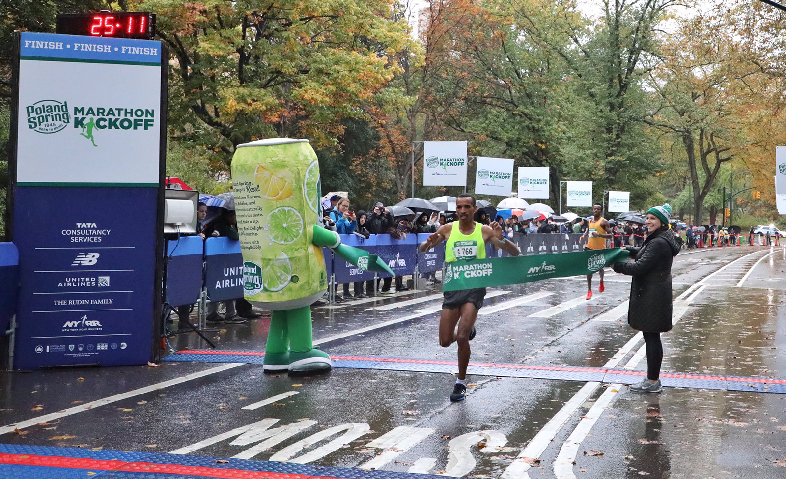 The winner of the 2019 Poland Spring Marathon Kickoff 5M breaks the tape