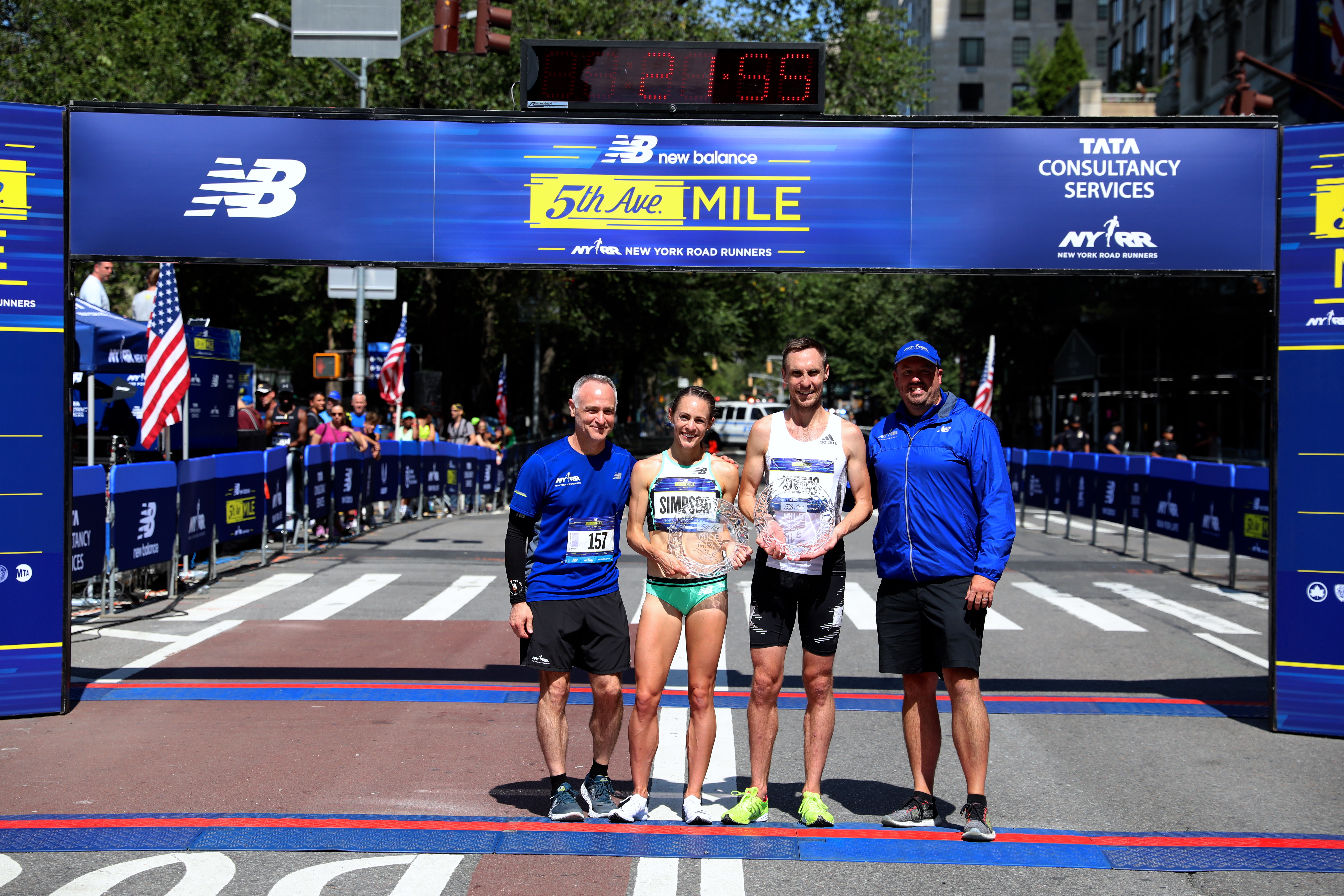 New Balance 5th Avenue Mile winners Jenny Simpson and Nick Willis with Michael Capiraso and Jim Heim