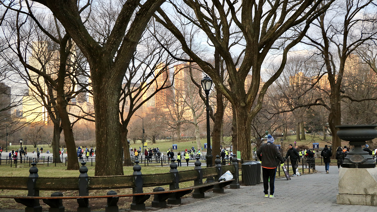 Central Park in the winter before a race.