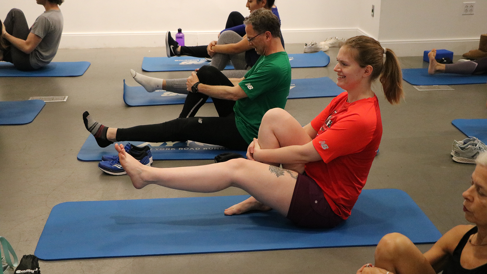 A core strength class in progress at the NYRR Run Center