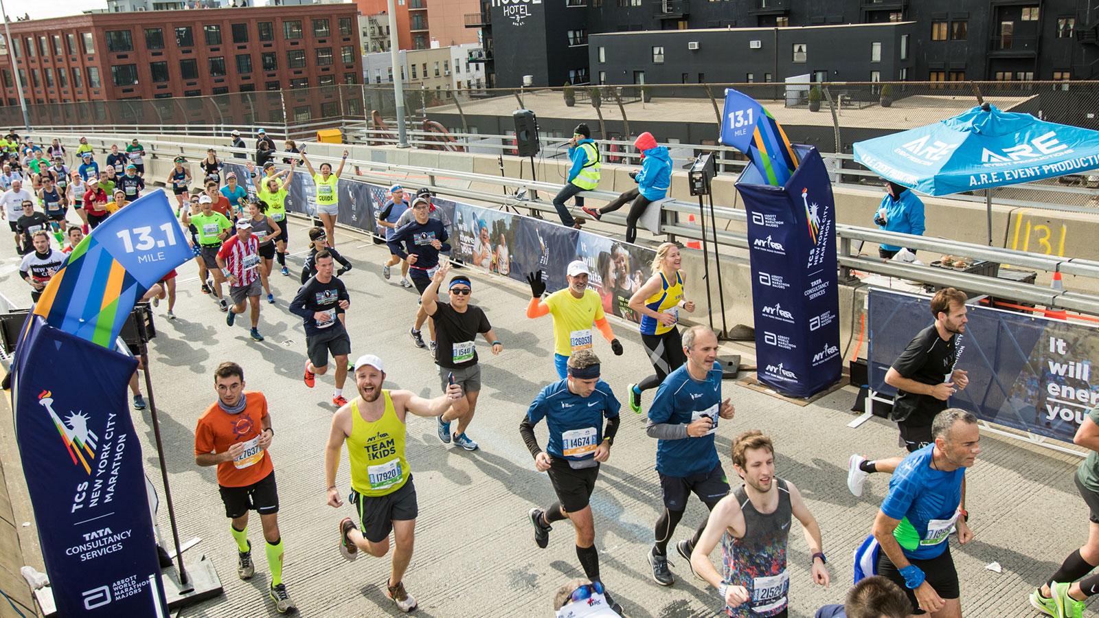 Runners at 13.1 miles at 2019 TCS New York City Marathon