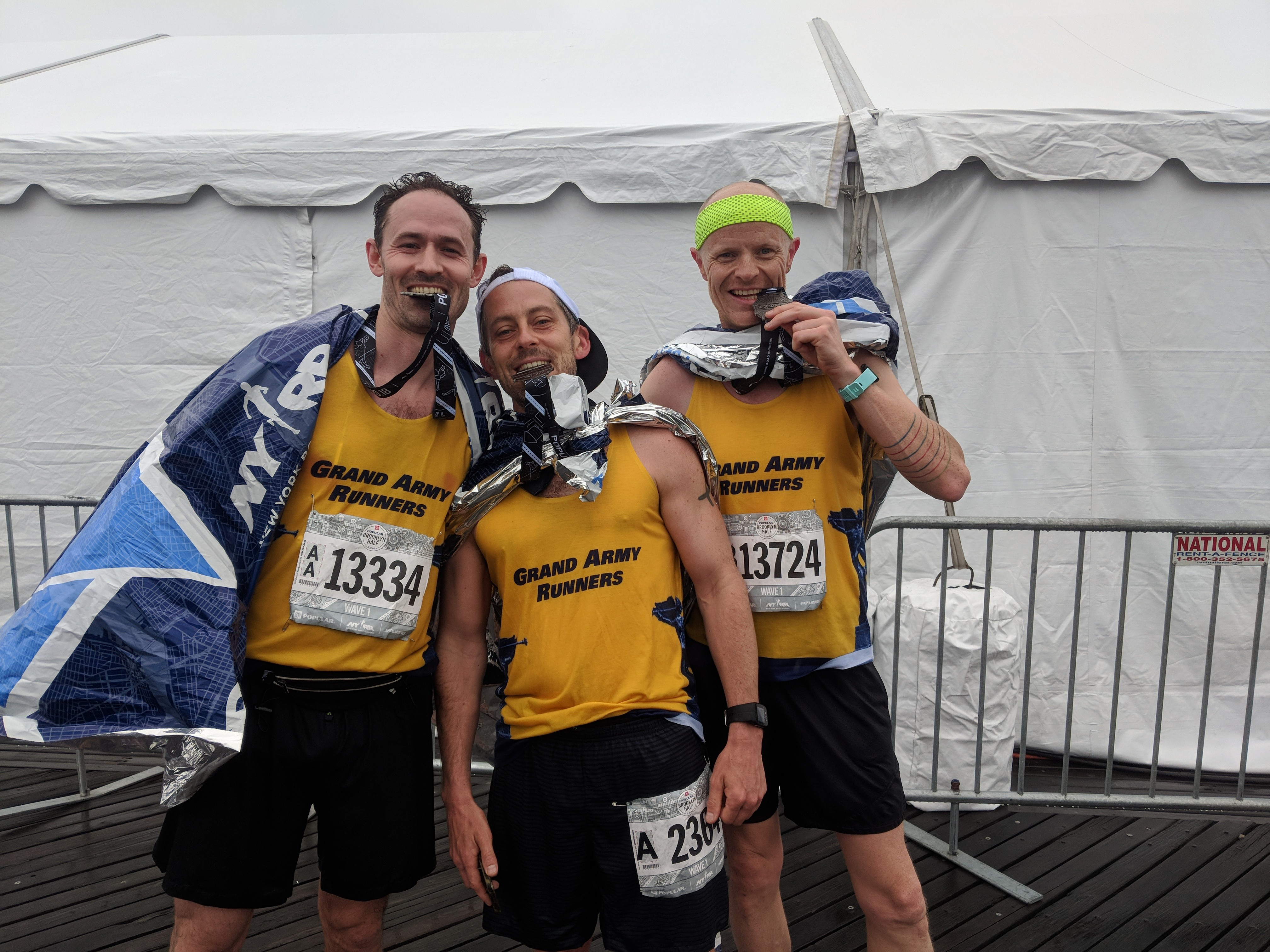 NYRR Member James Cameron and his running team The Grand Army Runners after a race