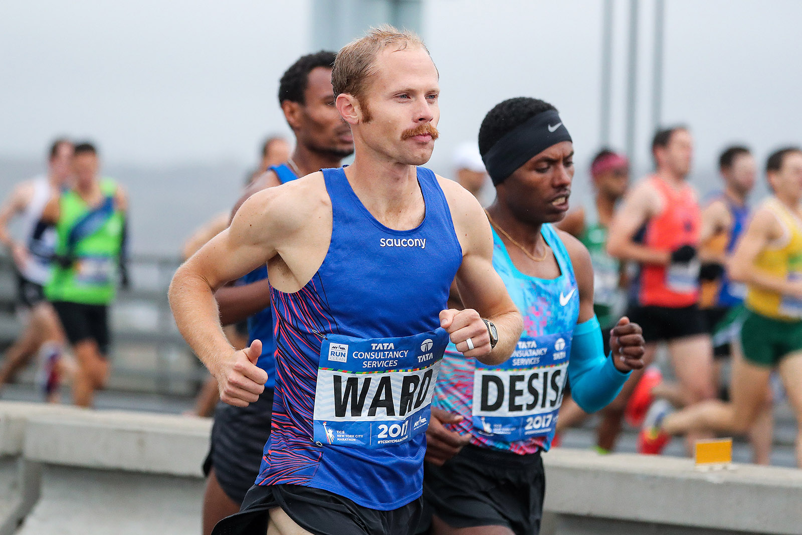 Jared Ward running the 2017 TCS New York City Marathon