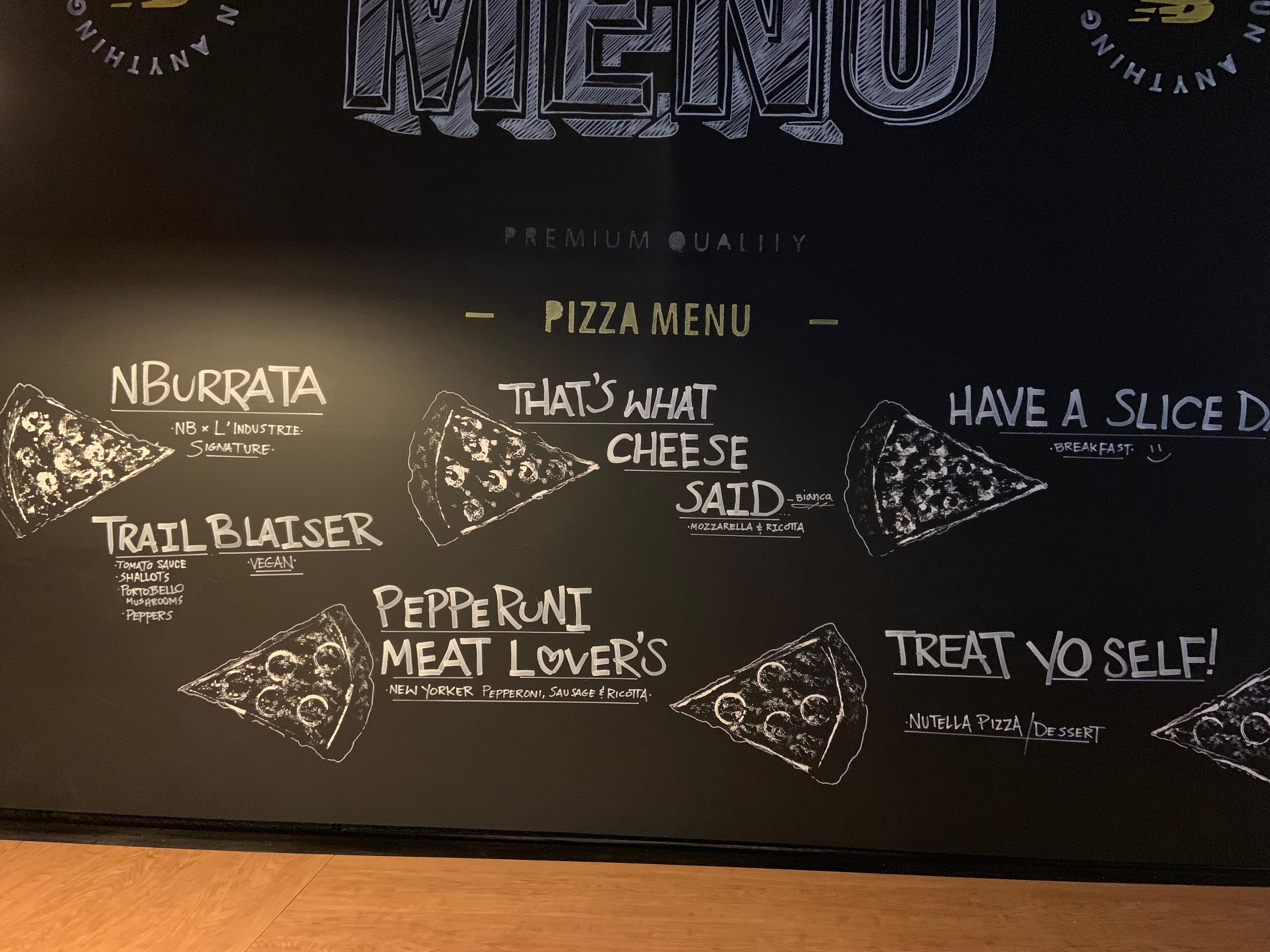 A pizza menu drawn in chalk on a chalkboard.