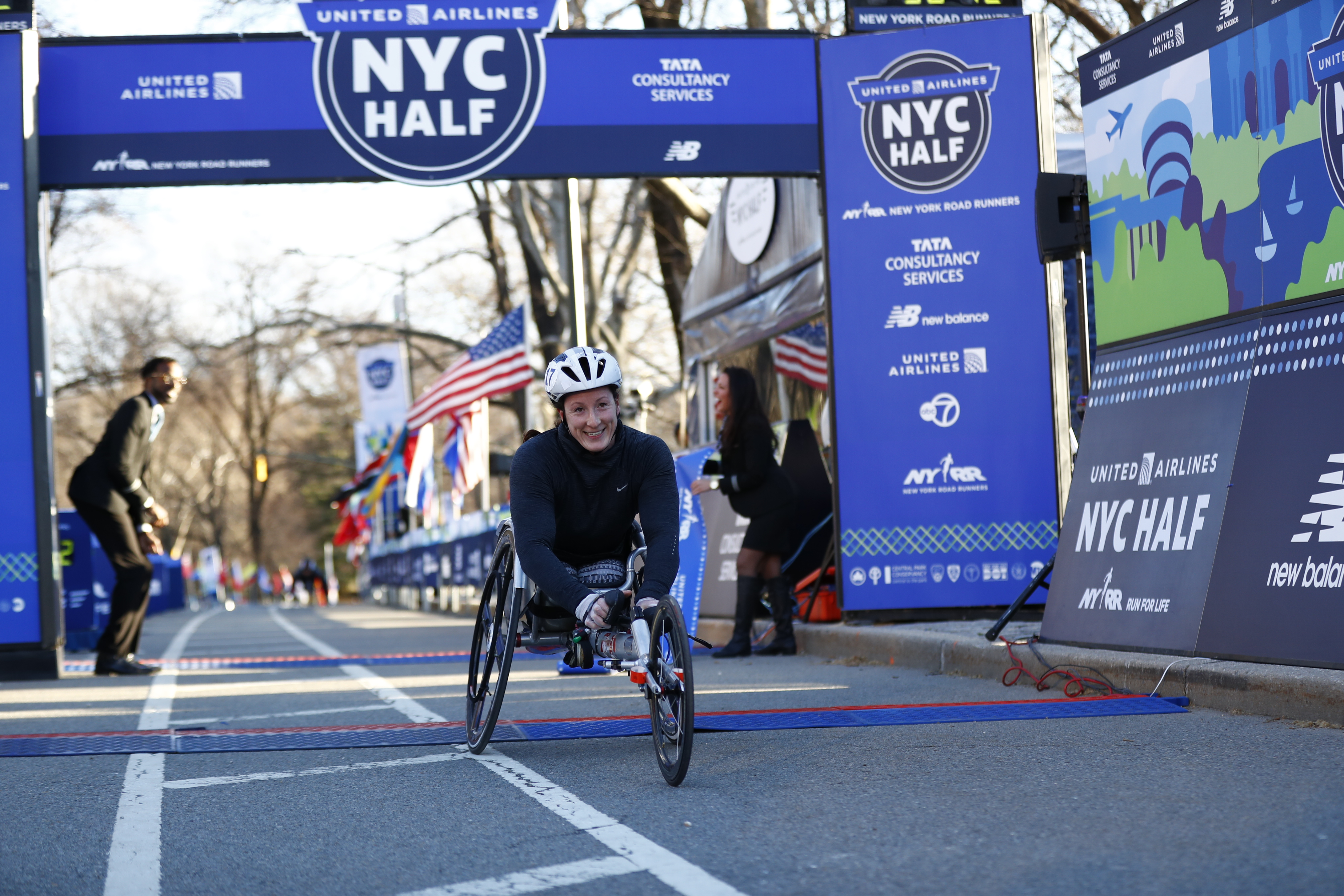 Tatyana McFadden smiling at the finish line of the 2019 United Airlines NYC Half.