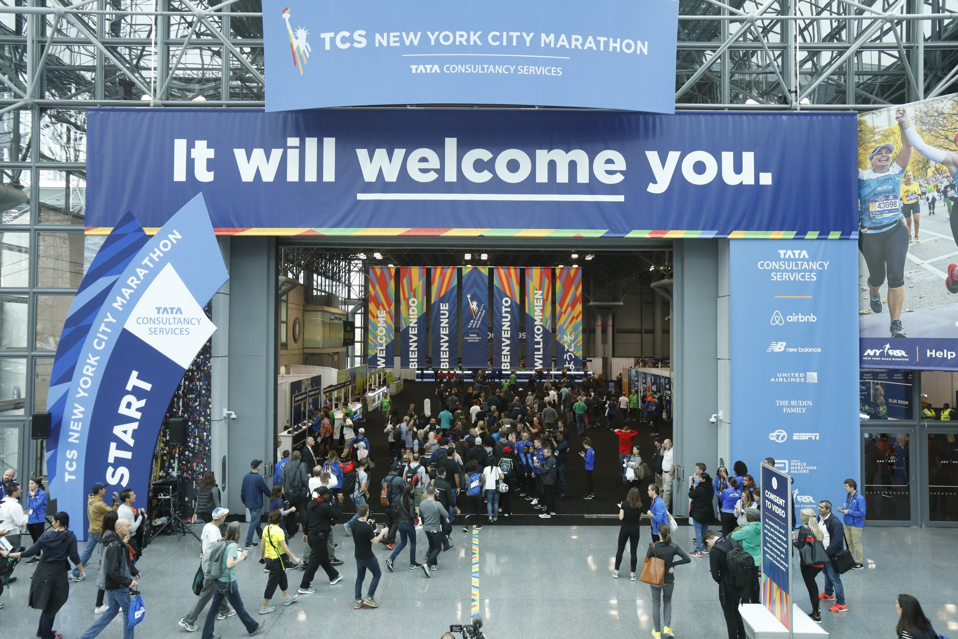 Visitors entering the TCS New York City Marathon Expo at the Javits Center in Manhattan