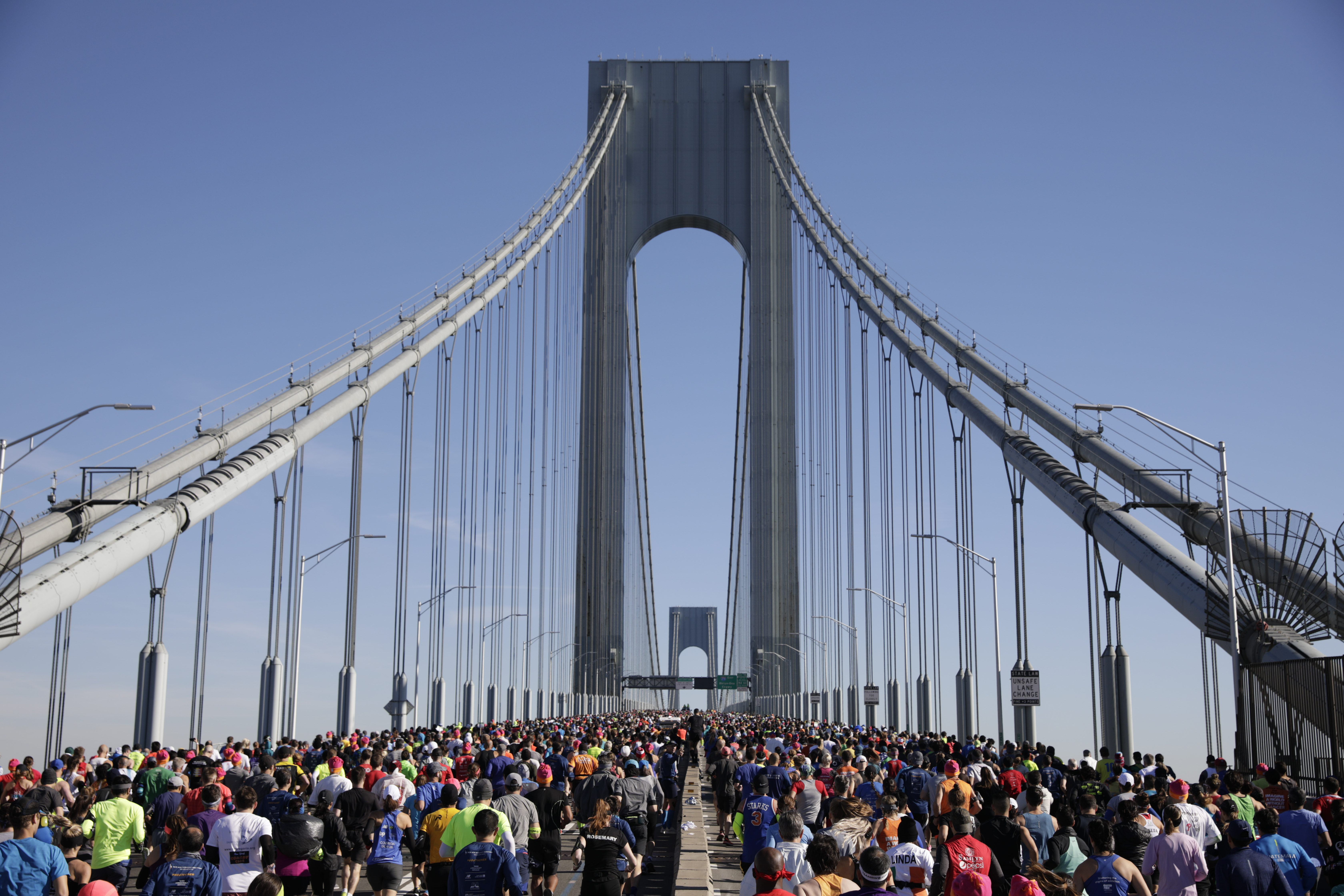 Runners crossing the Verrazano-Narrows Bridge during the TCS New York City Marathon