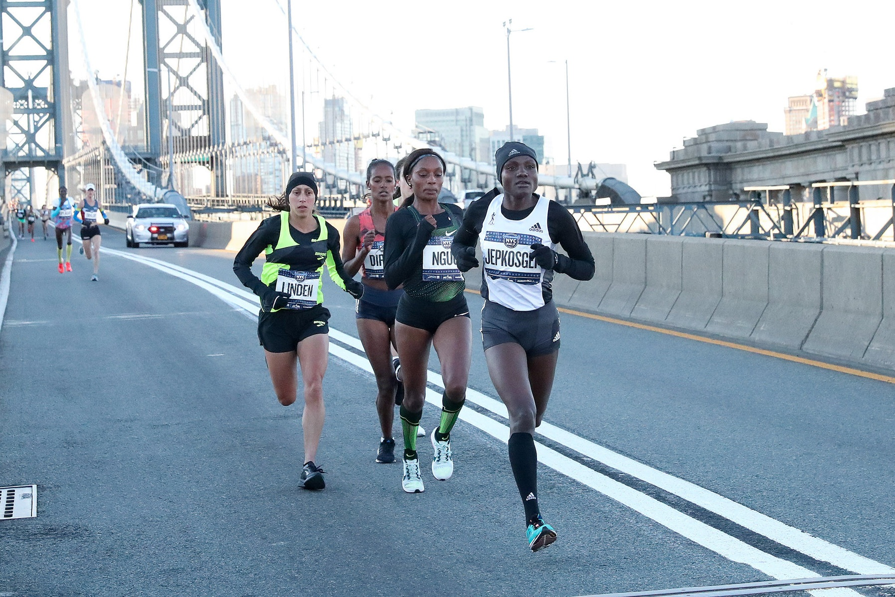 Mary Ngugi, shown here in the lead pack at the 2019 United Airlines NYC Half, knows that she'll once again learn a lot from racing on the streets of NYC.