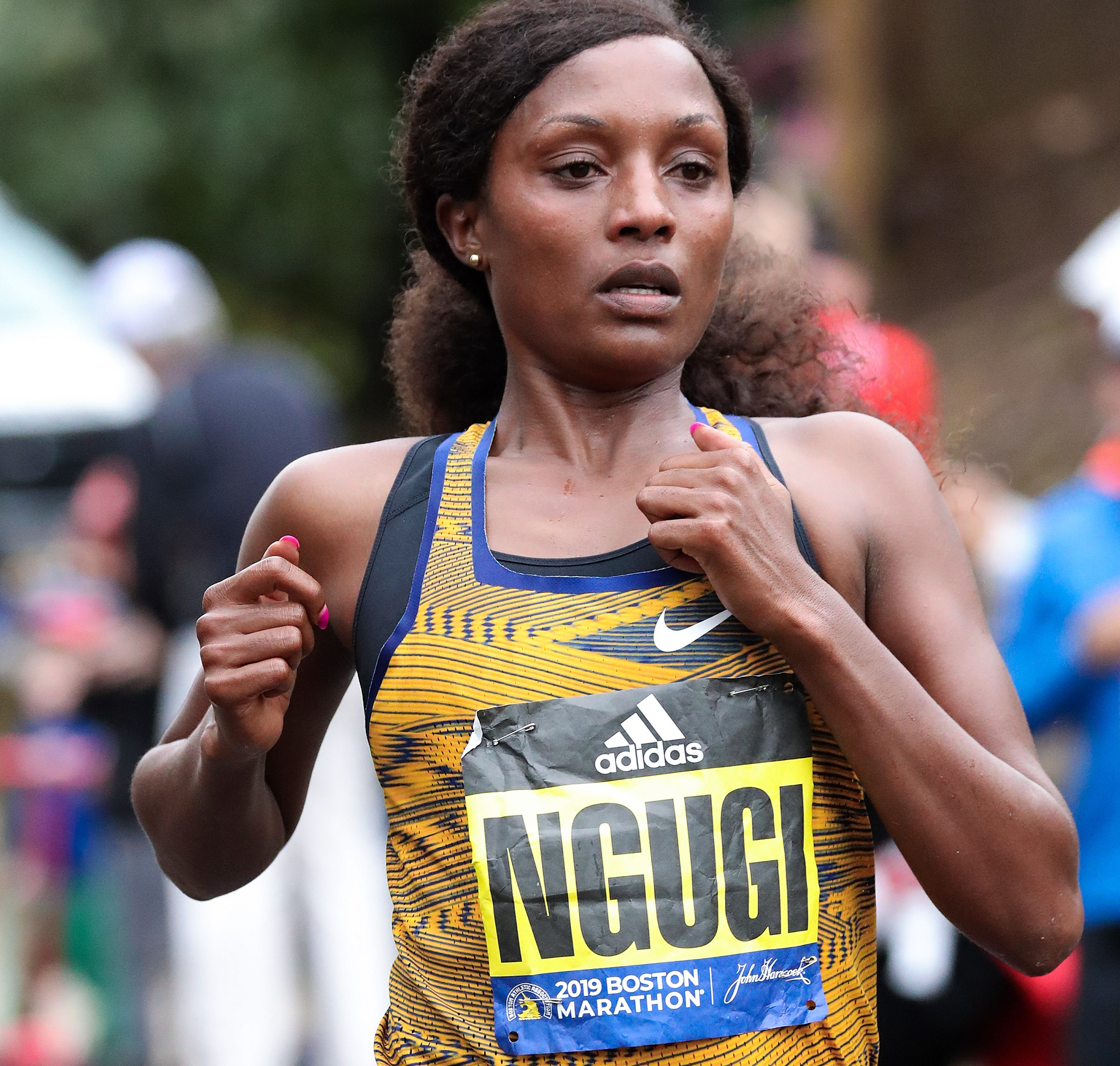 Mary Ngugi was seventh in 2:28:33 at the 2019 Boston Marathon, her debut at the distance.