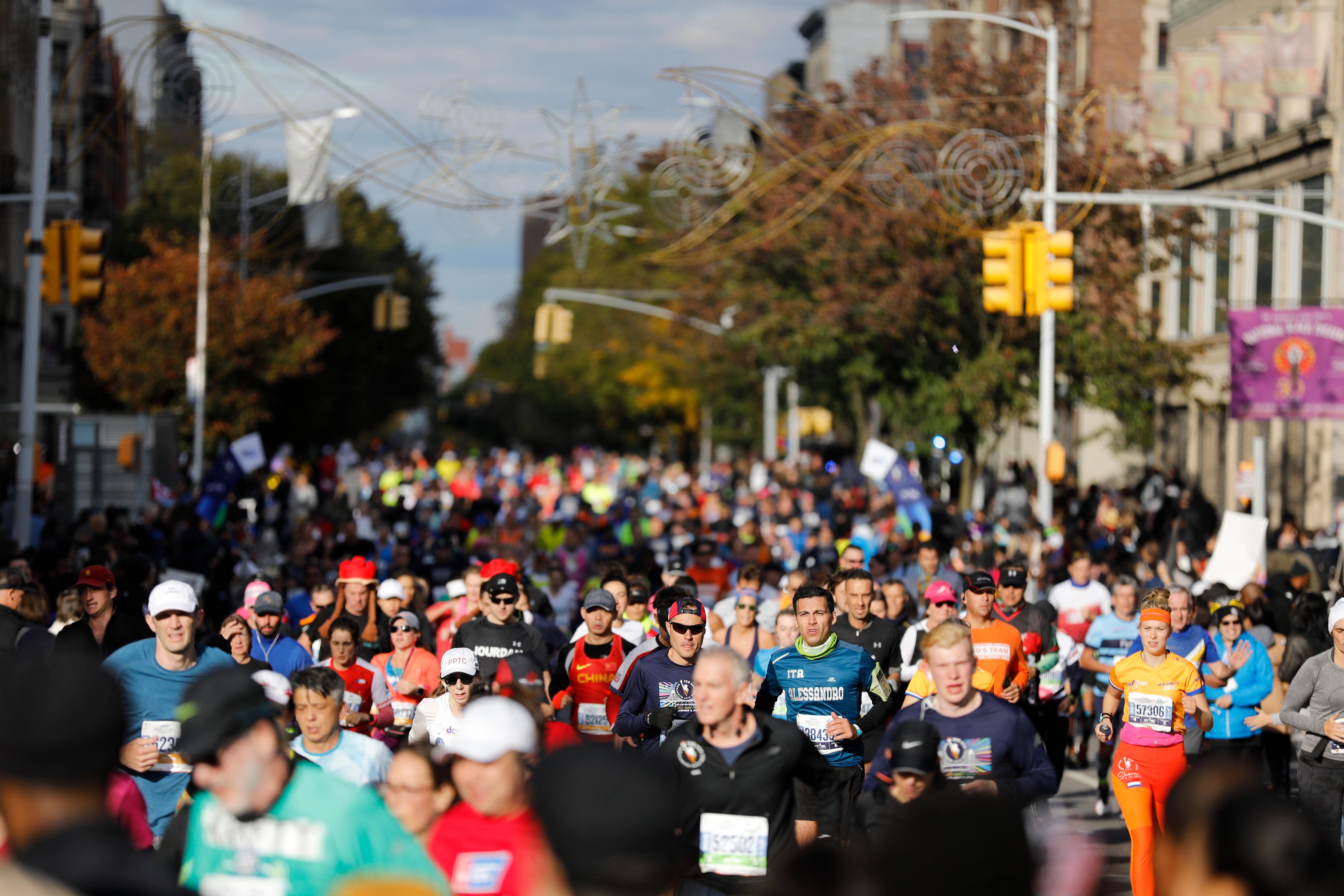 Runners on 2019 TCS New York City Marathon course