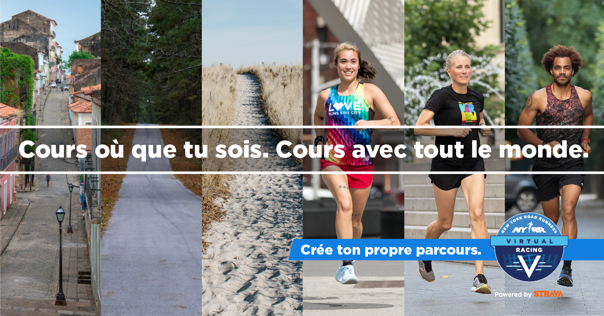 """Image of runners with text overlaid: """"Cours où que tu sois. Cours avec tout le monde."""""""