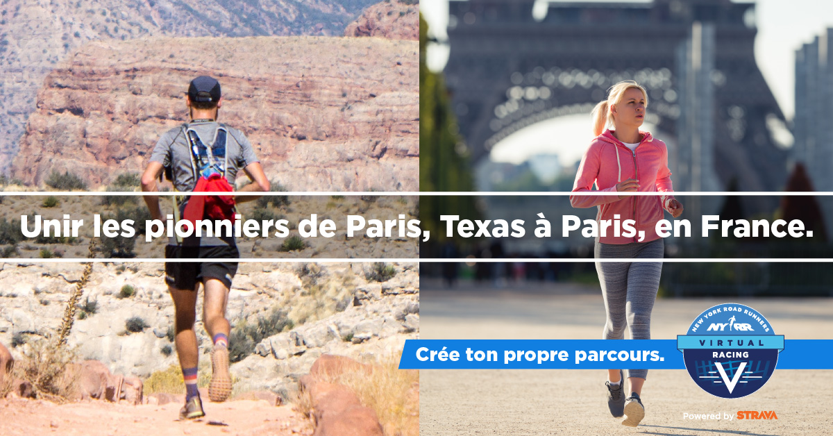 Images of runners with text overlaid: Unir les pionniers de Paris, Texas à Paris, en France.""