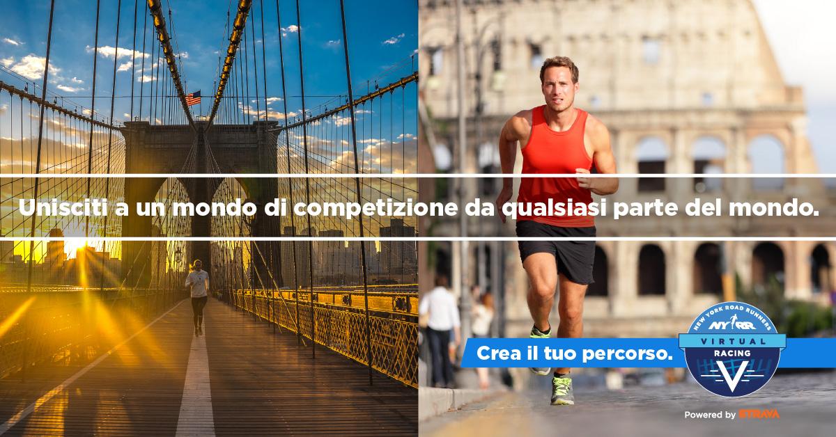 """Images of runners with text overlaid: """"Unisciti a un mondo di competizione da qualsiasi parte del mondo."""""""