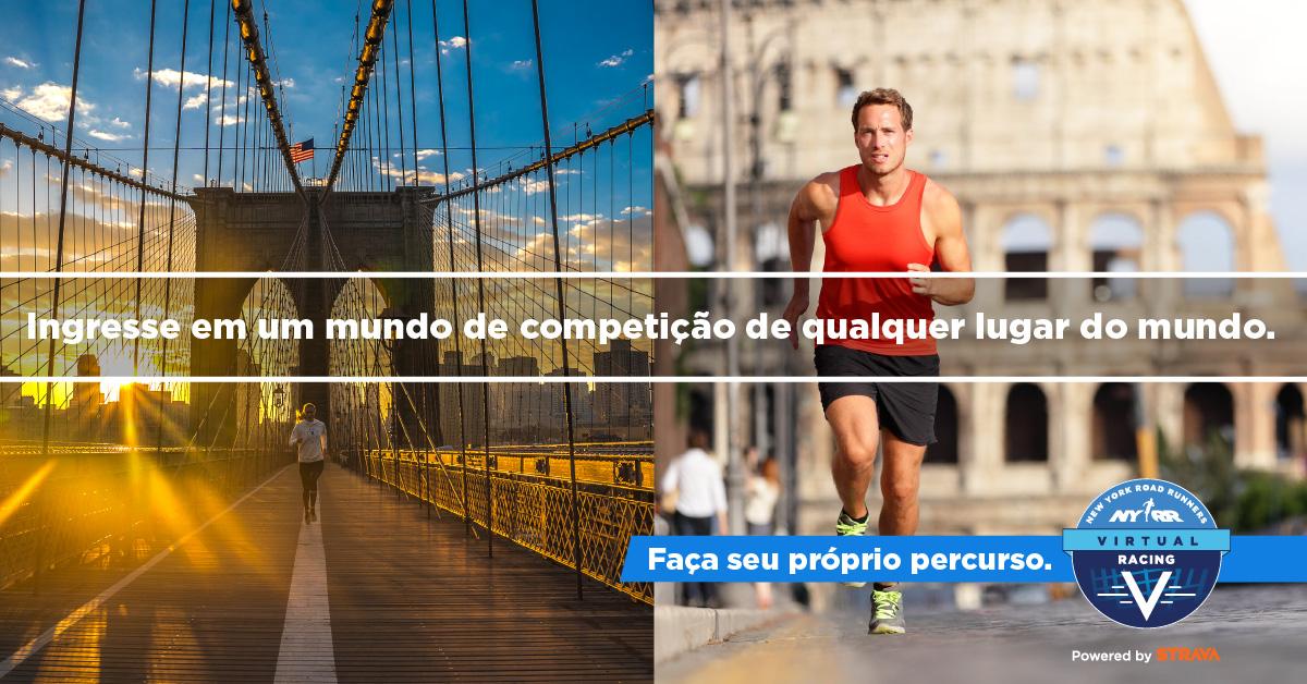 """Images of runners with text overlaid: """"Ingresse em om mundo de competição de qualquer lugar do mundo."""""""