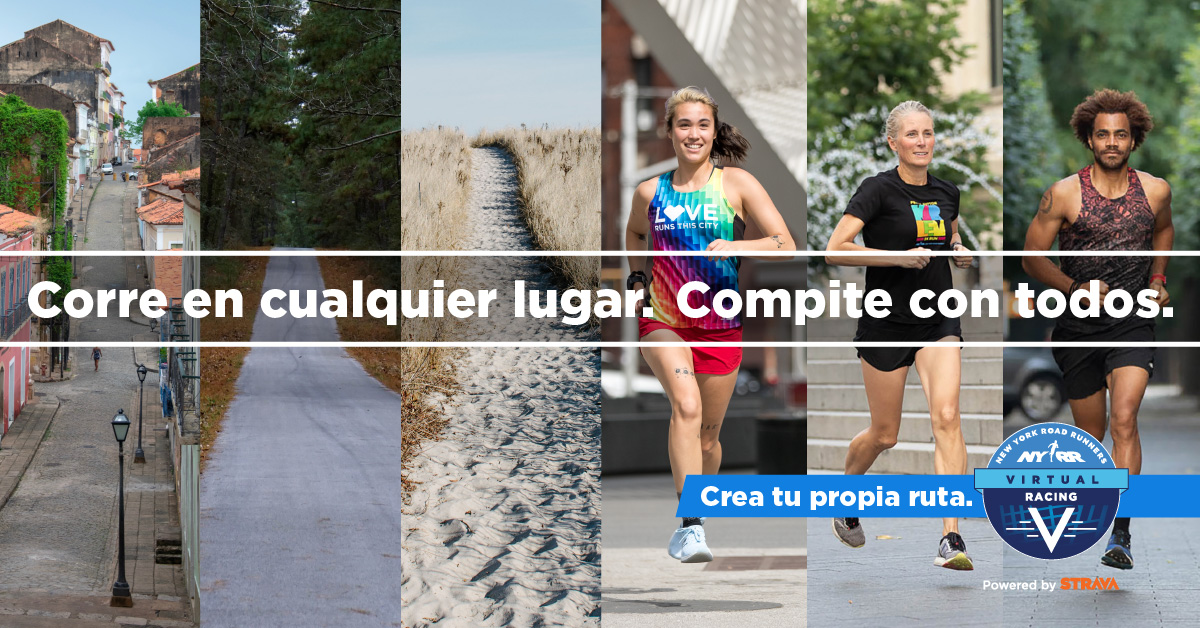 "Images of runners with text overlaid: ""Corre en cualquier lugar. Compite con todos."""