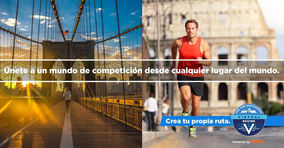 """Images of runners with text overlaid: """"Únete a un mundo de competición desde cualquier lugar del mundo."""""""
