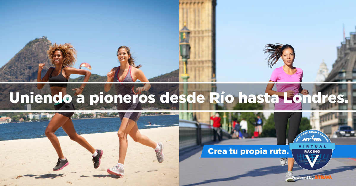 "Images of runners with text overlaid: ""Uniendo a pioneros desde Río hasta Londres."""