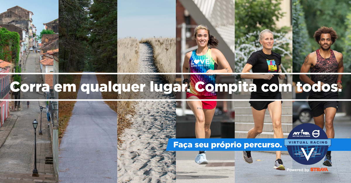 NYRR Volvo Virtual Racing banner written in Portugese