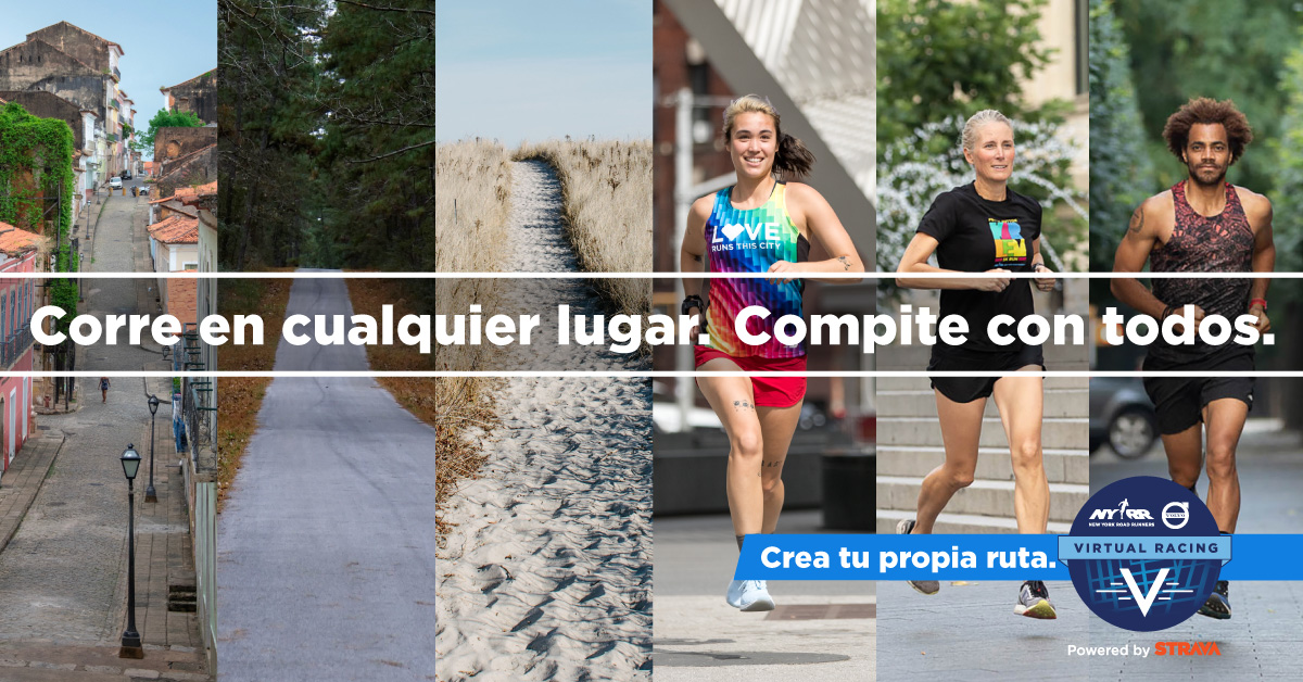 NYRR Volvo Virtual Racing banner written in Spanish