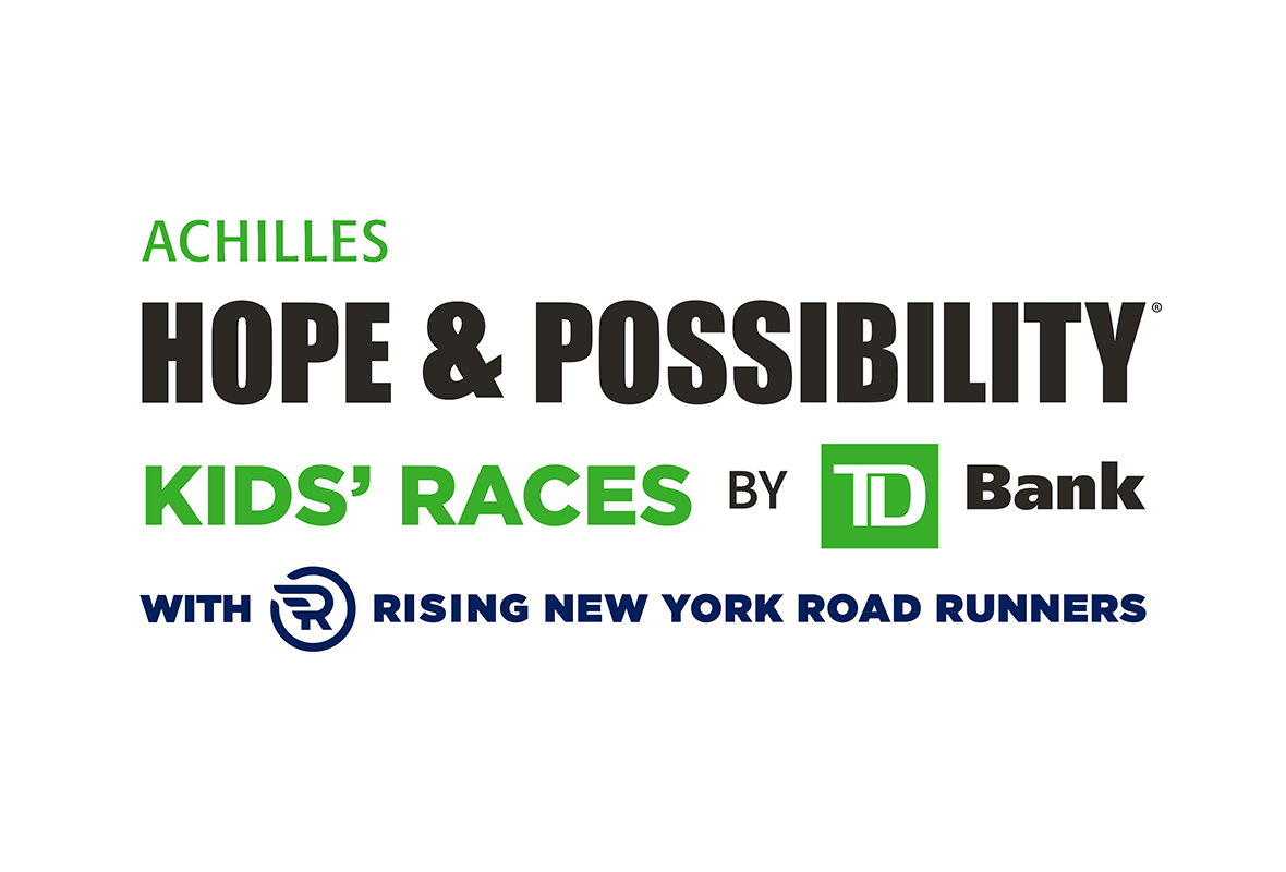 Kids races at the Achilles Hope and Possibility by TD Bank with Rising New York Road Runners logo